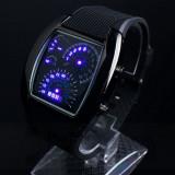 Ceas LED, Forma Ecranului BORD Auto cu Vitezometru, Turometru, NOU, Full Black.