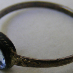 Inel vechi din argint cu piatra bleu (2) - de colectie - Inel argint