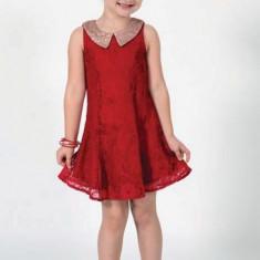 Rochie din dantela Rosie cu guler cu paiete Art Limited 4 ani, Rosu