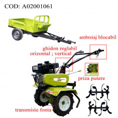 Gardelina Motocultor A02001061, 7 CP, freze, roti cauciuc, remorca, 700-1000 mm