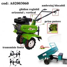 Gardelina Motocultor A02003060, 7 CP, freze, roti cauciuc, remorca 400 kg, 1000 mm