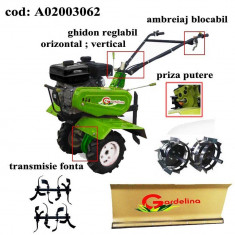 Gardelina Motocultor A02003062, 7 CP, freze, roti cauciuc, roti metalice, lama zapda, 1000 mm