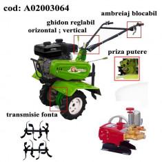Gardelina Motocultor A02003064, 7 CP, freze, roti cauciuc, pompa presiune, 1000 mm
