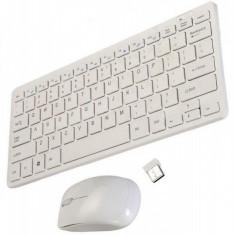 Kit Tastatura si Mouse Wireless 2.4GHz tip Apple-mini tastatura slim wireless