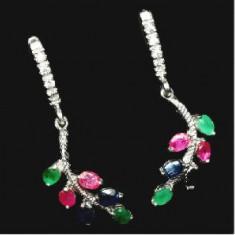 Cercei argint - Cercei Thilanda argint 925 placati aur alb suavi cu rubin, safir, smarald natural