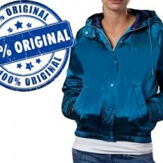 Geaca dama Adidas Originals Satin Bomb - geaca originala, Marime: S/M, Culoare: Albastru, Poliester