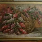 Tablou, Flori, Ulei, Realism - Pictura liliac Mircea Dumitrescu (1915-1984 )