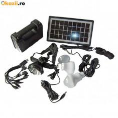 Panouri solare - Kit solar fotovoltaic 3 becuri, incarcare telefon lanterna frontala GDLITE 8007