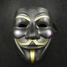 MASCA ANONIMOUS, Guy Fawkes, Masca V for Vendetta Negru. ANONYMUS - Masca carnaval, Marime: Masura unica, Culoare: Alb