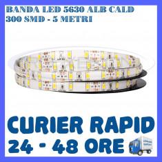 Iluminat decorativ ZDM - ROLA BANDA 300 LED LEDURI SMD 5630 ALB CALD - 5 METRI, IMPERMEABILA (WATERPROOF)