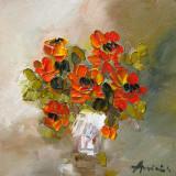 Tablou ulei (15/15cm)-TRANDAFIRI, Flori, Impresionism