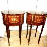 Set de 2 superbe comodute cu 3 sertare cu intarsie si bronzuri..o frumusete - Mobilier