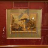 TABLOU, BUCURESTII VECHI, BISERICA GRECEASCA, LITOGRAFIE COLOR, 18 CM X 22 CM .