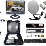 Sistem complet satelit - FOCUS SAT+ANTENA PLIABILA+TV 24cm Camion, Camping, Rulota- 12 v