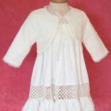 Botez - Bolero fetite Macrame (Culoare: alb, Imbracaminte pentru varsta: 0 - 3 luni - 62 cm)