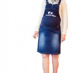 Haine Gravide - Fusta salopeta din jeans pentru gravide FSJ XL (46) MaJore
