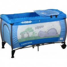Patut pliant bebelusi - Patut pliant Medio Safari 120 x 60 cm Albastru Caretero
