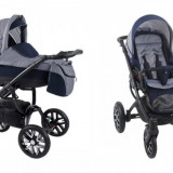 Carucior copii 3 in 1 - Carucior 3 in 1 Holland Black W2 (Gri cu Albastru) Bebetto