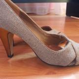 Pantofi dama - Pantofi cu toc auriu