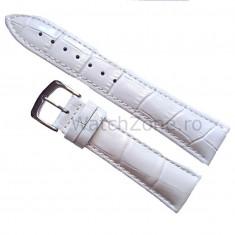Curea ceas piele - Curea de ceas Piele Alba imprimeu Crocodil Curea ceas 18mm