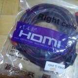 vand Cablu HDMI 10M 10 M metri invelis textil ecranat certificat 3D si 3DTV NOU