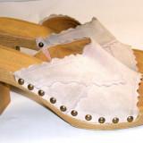 Papuci dama marca Gabor interior exterior piele marimea 6 1/2 ( echiv 40 eu ) (P541_1)