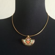 Set bijuterii placate cu aur - FREY WILLE, Set Bijuterii Dama, Colier si Inel, Email & 24K, Autentic