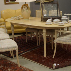 Set masa si 6 scaune lemn alb - Mobilier