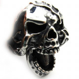 Inel inox barbati skull rings craniu vampire punk rock gothic biker