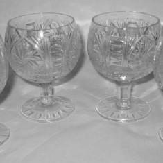 4 pahare de coniac din cristal Bohemia