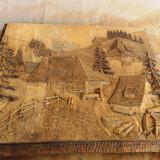 Tablou decorativ din lemn - obiect rustic decorativ - Sculptura, Lemn