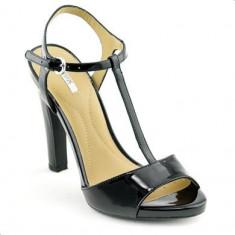 Sandale Geox cu toc din piele lacuita marimea 37 - Sandale dama Geox, Culoare: Din imagine, Piele naturala