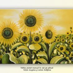 Pictura cu floarea soarelui (2) - ulei pe panza 90x60cm