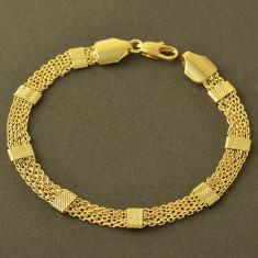 Bratara placate cu aur - Bratara filata cu Aur galben 9k, model deosebit 160404