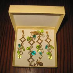 Set bijuterii MileFiori Italia-Bratara cu Cercei placate aur si pietricele. - Set bijuterii placate cu aur