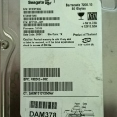 HDD Seagate 80Gb IDE, model ST380815AS - Hard Disk Seagate, 40-99 GB, Rotatii: 7200, 2 MB