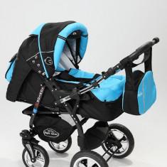 Carucior copii 3 in 1 Baby-Merc Junior Plus (negru cu turcuaz), Pliabil, Gri, Maner reversibil