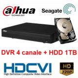 Kit DVR HDCVI Tribrid 4 canale 720P HCVR4104HS-S2 cu HDD 1TB inclus - Camera CCTV