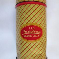 RARA! CUTIE TABLA 500 GRAME BOMBOANE I.I.S. DESROBIREA ORASUL STALIN ANII 50 - Cutie Reclama