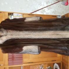 Haina blana autentica-vizon si vulpe - Palton dama, Marime: 48, Culoare: Moka