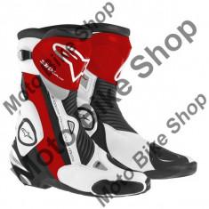 MBS Cizme Alpinestars Racing SMX PLUS, negru-rosu-alb, 46, Cod Produs: 222101513246AU - Cizme barbati