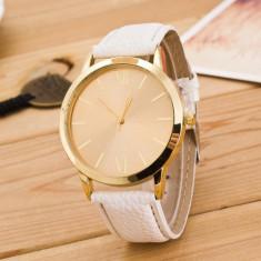 Ceas dama minimalist fashion auriu cu alb curea din piele ecologica PROMOTIE!!!, Quartz, Inox, Piele - imitatie, Analog