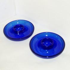 Suporturi breackfast pentru ou set 2 buc. - cobalt blue, suflate manual in mulaj - Vesela sticla