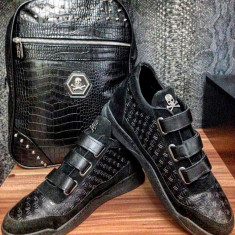 Adidasi/ghete/sneakers/tenesi Philipp Plein model Octombrie 2016 STOC LIMITAT! - Adidasi barbati, Marime: 43, Culoare: Negru, Piele sintetica