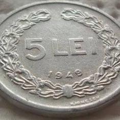 Moneda 5 Lei - ROMÂNIA, anul 1949 *cod 2682 xF - Moneda Romania, Aluminiu