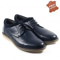 Pantofi barbati piele naturala JONES 2 bleumarin (Marime: 41)