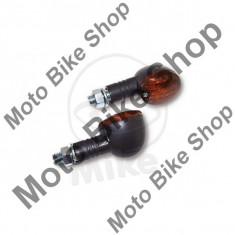 MBS Set semnalizari Shin Yo Flash, 12V/21W, brat scurt 22mm, prindere M10, negru, sticla fumurie, Cod Produs: 7050587MA - Semnalizatoare Moto