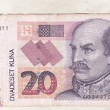 Bnk bn Croatia 20 kuna 2012 circulata - bancnota europa