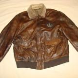 Geaca aviator/pilot, barbati, piele naturala model WW2/vintage/colectie - Geaca barbati, Marime: XXL, Culoare: Maro