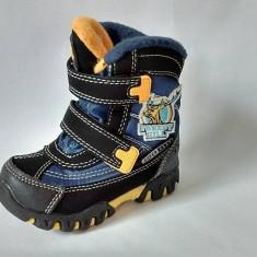 Ghete/ cizme impermeabile, imblanite, Super Gear, negru cu albastru si galben - Ghete copii, Marime: 22, 23, 25, 26, 27, Baieti, Textil